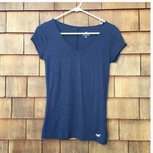 Hollister Navy V Neck T-Shirt Short Sleeve